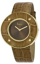 Freelook Women's HA1450G-3 Yellow Gold Plated Stainless Steel Case Light Brown Leather Bezel and Leather Band Watch