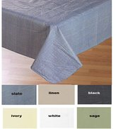 Carnation Home Fashions Vinyl Tablecloth with Polyester Flannel Backing, 52-Inch, by 70-Inch, Slate