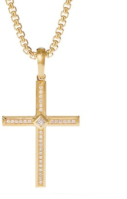 David Yurman Modern Renaissance Cross Pendant in 18K Yellow Gold with Diamonds