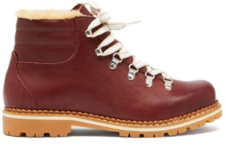 Montelliana Marlena Shearling-lined Leather Apres-ski Boots - Womens - Burgundy