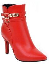 YE Women's High Heel Kitten Heels Pointed Toe Buckle Zipper Ankle Boots Autumn Winter Waterproof Short Boots Shoes