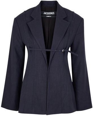 Jacquemus La Veste Sauge navy linen-blend blazer
