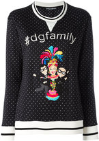 Dolce & Gabbana Family print polka-dot sweater - women - Silk/Cotton/Polyester/Virgin Wool - 40