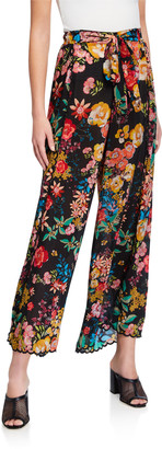 Johnny Was Albany Floral-Print Tie-Waist Pants