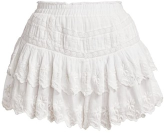 LoveShackFancy Emilia Ruffle Eyelet Mini Skirt