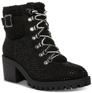 Madden-Girl Hayess-r Faux-Fur Lug Sole Hiker Booties