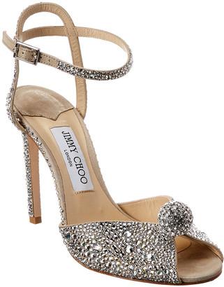 Jimmy Choo Sacora 100 Hotfix Crystals & Suede Sandal