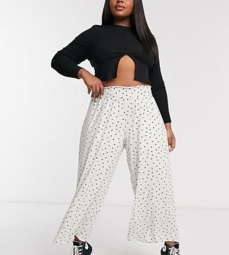 ASOS DESIGN Curve shirred waist culotte pants in spot print