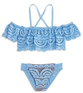 Clements Twins X Pq Swim Pq Swim Girls' Lace Two-Piece Swimsuit, Little Kid, Big Kid - 100% Exclusive