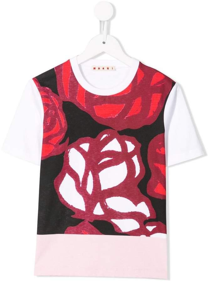 Marni colour-block floral print top