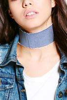 Boohoo Mia Thin Denim Frayed Adjustable Choker