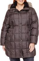 Liz Claiborne Side-Tab Puffer Jacket With Faux-Fur Collar