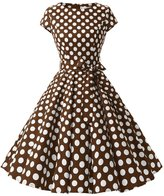 Dressystar Vintage 1950s Polka Dot and Solid Color Party Prom Dresses Rockabilly Cap Sleeves L