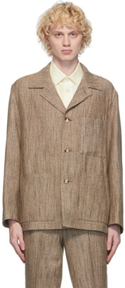 AURALEE Brown Wool Silk Tweed Blazer