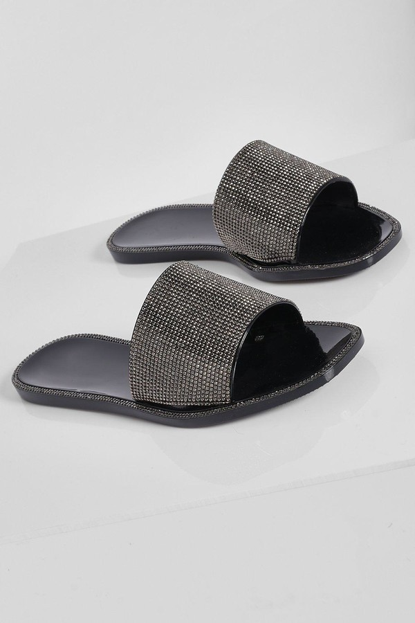 Thumbnail for your product : boohoo Diamante Detail Jelly Sandal