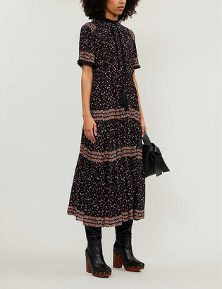 Free People Rare Feeling high-neck floral-print woven midi dress