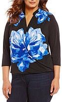 Peter Nygard Plus V-Neck 3/4 Sleeve Floral Cross-Front Blouse
