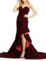 Thumbnail for your product : Mac Duggal Strapless Velvet Trumpet Gown