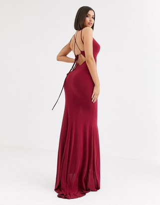 Club L London plunge front strappy back maxi dress in raspberry-Red