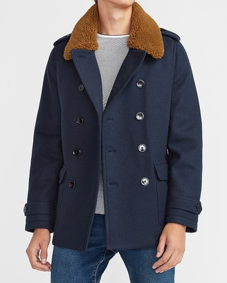 Express Sherpa Collar Water-Resistant Trench Coat