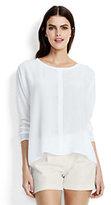 Lands' End Women's Long Sleeve Silk Tee-White Canvas/Navy