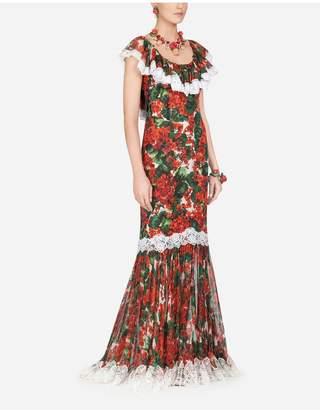 Dolce & Gabbana Long Portofino-Print Georgette Dress