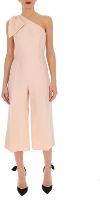 Elisabetta Franchi One Shoulder Bow Detail Cropped Jumpsuit