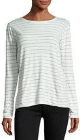 Current/Elliott The Long-Sleeve Boyfriend T-Shirt, Dirty White Runaway Stripe