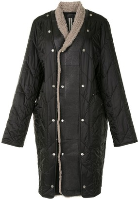 Rick Owens Shearling-Trimmed Quilted Coat