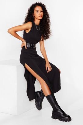 Nasty Gal Womens Slit the Ground Running Ribbed Midi Dress - Black