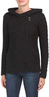 Made In Ireland Merino Wool Hooded Zip Cardigan