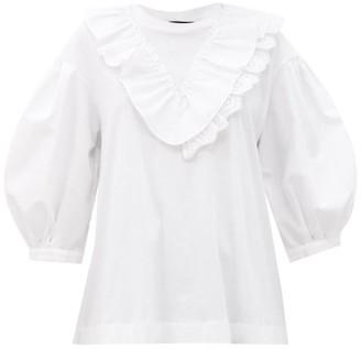 Simone Rocha Ruffled Puff-sleeve Cotton Top - White