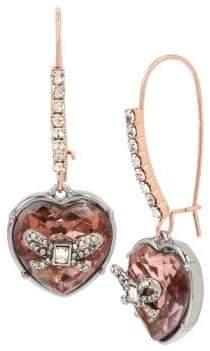 Betsey Johnson Rose Goldtone Heart Drop Earrings