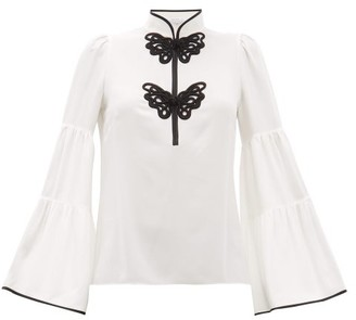 Andrew Gn Butterfly-frogging Silk-crepe Blouse - Womens - White