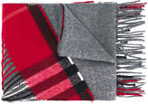 Burberry cashmere tartan panel detail scarf