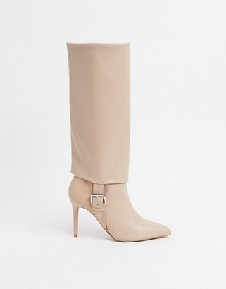 ASOS DESIGN Christy pull on knee boots with buckles in beige