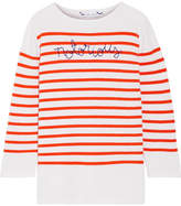 Lingua Franca Notorious Embroidered Striped Cashmere Sweater - Orange