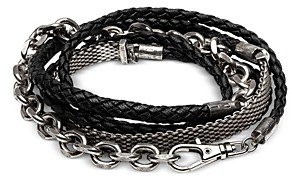 The Monotype Silver-Plated Brass Riley Braided Leather Wrap Bracelet