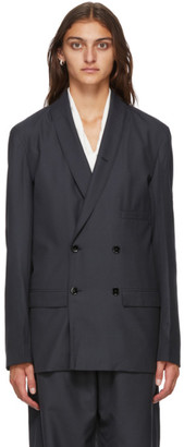 Lemaire Navy Wool Double-Breasted Belted Blazer