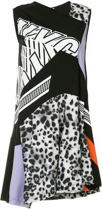 Koché asymmetric patchwork dress