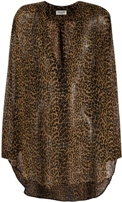 Saint Laurent Leopard Print Asymmetric Blouse