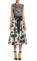 Monique Lhuillier Women's Lace & Jacquard Tea Length Dress