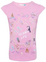 John Lewis Girls' Island Life T-Shirt, Bright Pink