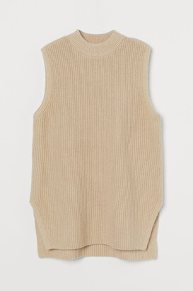 H&M Rib-knit Sweater Vest - Beige