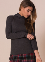 Missy Empire Fifi Charcoal Ribbed Polo Neck Top