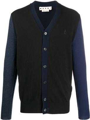 Marni Two-Tone Virgin Wool Knit Cardigan