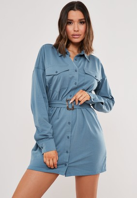 Missguided Blue Jersey Utility Shirt Dress