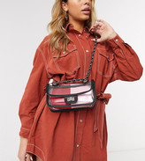 clear My Accessories London Exclusive cross body bag with color block red and pink inner pouch