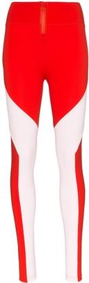 Y-3 two-tone Y-cut leggings