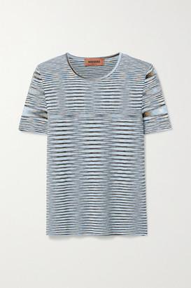 Missoni Striped Crochet-knit Cotton Top - Light blue